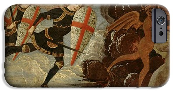 Fall iPhone Cases - St. Michael and the Angels at War with the Devil iPhone Case by Domenico Ghirlandaio