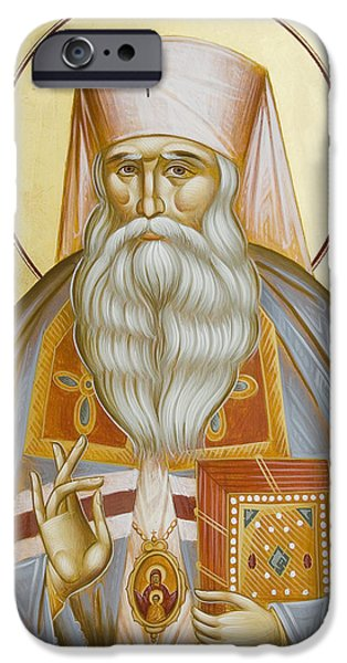 St Nicholas Icon iPhone Cases - St Nicholas the Confessor of Alma Ata and Kazakhstan iPhone Case by Julia Bridget Hayes