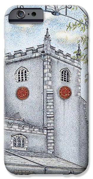 Facade Drawings iPhone Cases - St Oswalds Church Clock iPhone Case by Sandra Moore