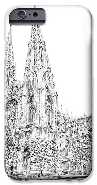 Religious Drawings iPhone Cases - St Patricks Cathedral iPhone Case by Anthony Butera