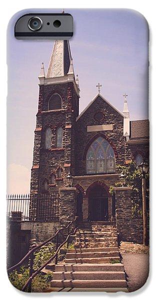 Eerie iPhone Cases - St. Peters Roman Catholic Church iPhone Case by Kim Hojnacki