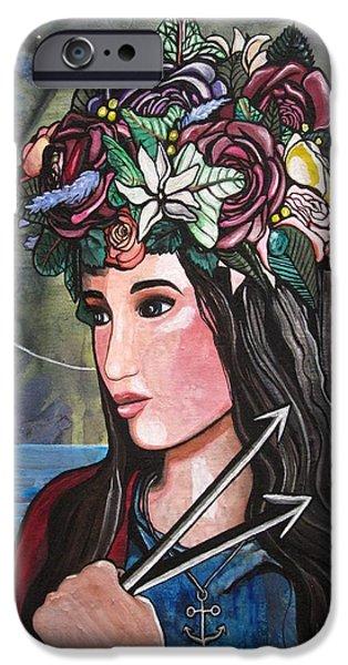Spiritual Portrait Of Woman iPhone Cases - St. Philomena iPhone Case by MaryEllen Frazee