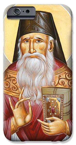 St Porphyrios Paintings iPhone Cases - St Porphyrios of Kavsokalyvia iPhone Case by Julia Bridget Hayes