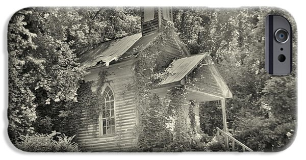 Religious iPhone Cases - St Simon Church Peak SC Summertime Black and White iPhone Case by Lisa Wooten