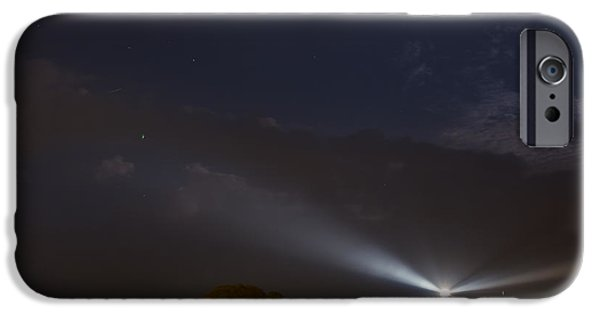 Glynn iPhone Cases - St. Simons Island Lighthouse at night iPhone Case by Chris Bordeleau