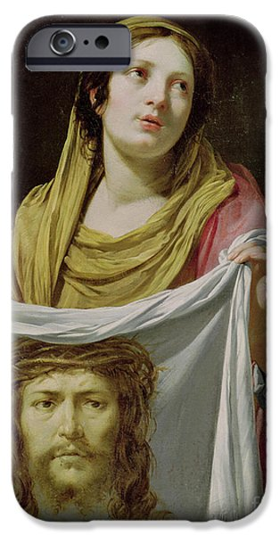 Jesus Face iPhone Cases - St. Veronica Holding the Holy Shroud iPhone Case by Simon Vouet