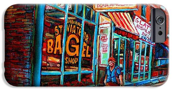 Delicatessans iPhone Cases - St. Viateur Bagel Bakery iPhone Case by Carole Spandau