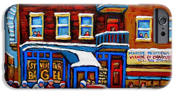 After School Hockey Paintings iPhone Cases - St Viateur Bagel With Hockey Montreal Winter Street Scene iPhone Case by Carole Spandau