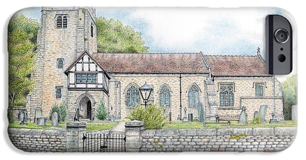 Worship Drawings iPhone Cases - St Wilfrids Church Halton Lancashire iPhone Case by Sandra Moore