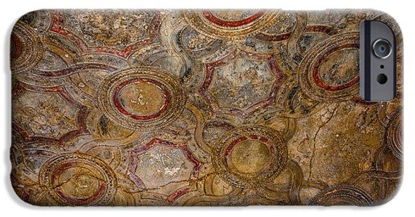 Historic Site iPhone Cases - Stabian Baths - Decorative Ceiling - Pompeii iPhone Case by Debra Martz