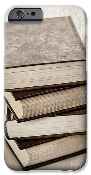 Book iPhone Cases - Stack of books iPhone Case by Elena Elisseeva