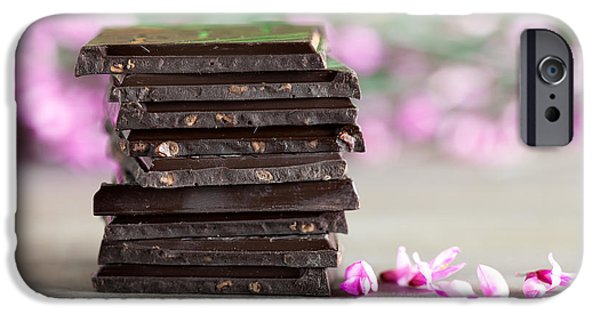 Snack Bar iPhone Cases - Stack of Chocolate iPhone Case by Nailia Schwarz