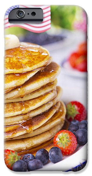 Fourth Of July iPhone Cases - Stack of pancakes with fresh fruit iPhone Case by Sara Winter