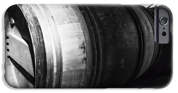 Vintage Wine Lovers Photographs iPhone Cases - Stacked Barrels iPhone Case by Nomad Art And  Design