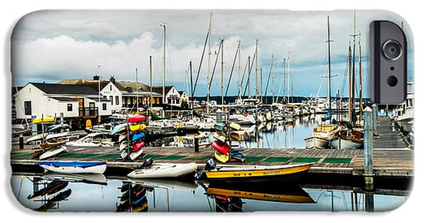 Sailboat Ocean iPhone Cases - Stacked up at Point Hudson iPhone Case by TL  Mair