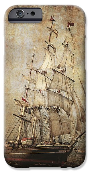 Tall Ship Mixed Media iPhone Cases - Stad Amsterdam 3 Masted Clipper iPhone Case by Daniel Hagerman
