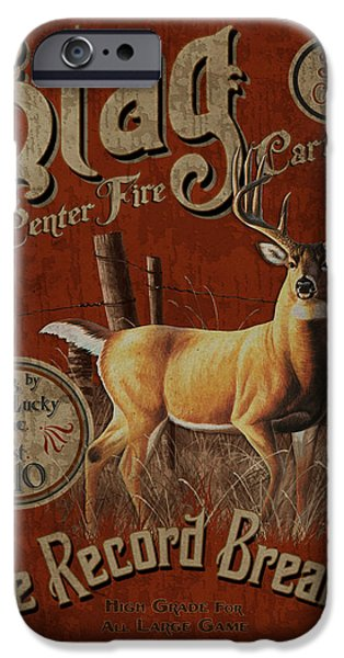 Antiques iPhone Cases - Stag Record Breaker Sign iPhone Case by JQ Licensing