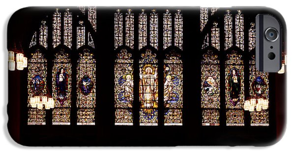 Interior Glass iPhone Cases - Stained Glass - Abyssinian Baptist Church Harlem iPhone Case by Mountain Dreams