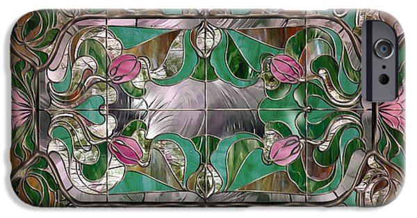 Depression Paintings iPhone Cases - Stained Glass Art Nouveau Window iPhone Case by Mindy Sommers