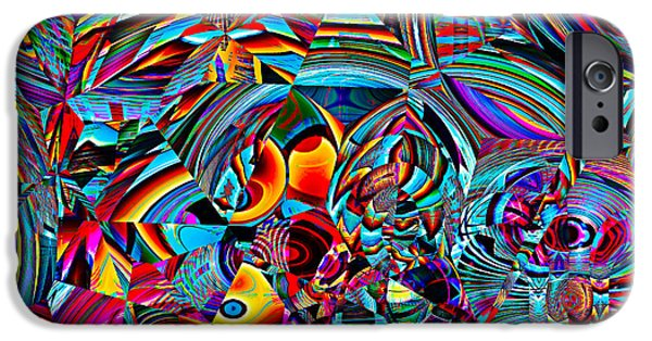 Colorful Abstract Tapestries - Textiles iPhone Cases - Stained Glass Glitch iPhone Case by Marcus Mattern