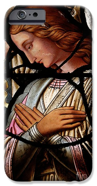 Christmas Eve iPhone Cases - Stained glass window Angel iPhone Case by Unknown