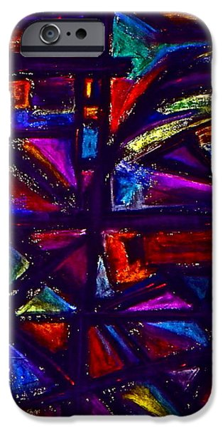 Abstractions Pastels iPhone Cases - Stained Glass Window iPhone Case by Chris  Riley