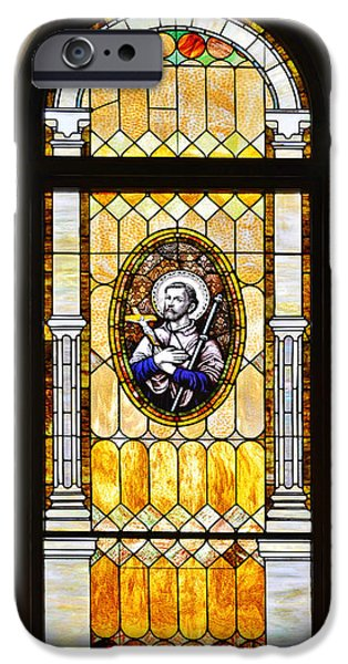 Father iPhone Cases - Stained Glass Window Father Antonio Ubach iPhone Case by Christine Till
