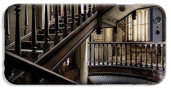 Haunted House iPhone Cases - Staircase Rhythm - Abandoned Castle iPhone Case by Dirk Ercken