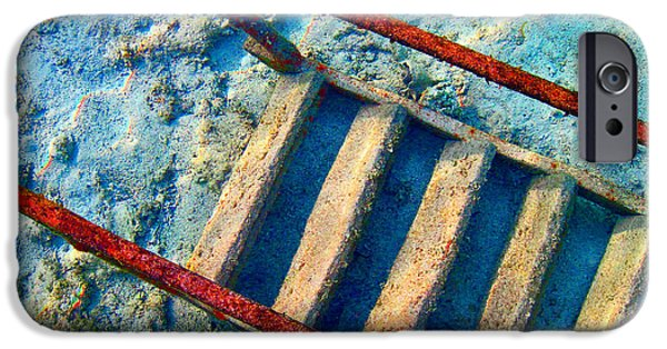 Nature Study iPhone Cases - Stairway to the sea.  Sea. Rusty Iron And Corals. iPhone Case by Andy Za