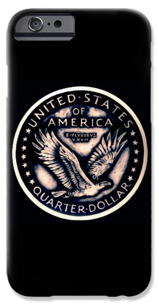 Coins Drawings iPhone Cases - Standing Liberty  Reverse iPhone Case by Fred Larucci