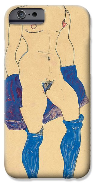 Socks iPhone Cases - Standing woman with shoes and stockings iPhone Case by Egon Schiele