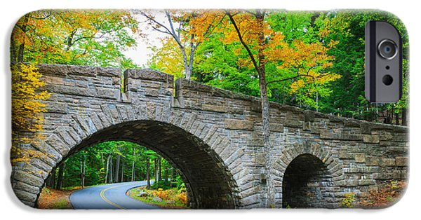 Jordan iPhone Cases - Stanley Brook Bridge in Acadia N.P iPhone Case by Henk Meijer Photography