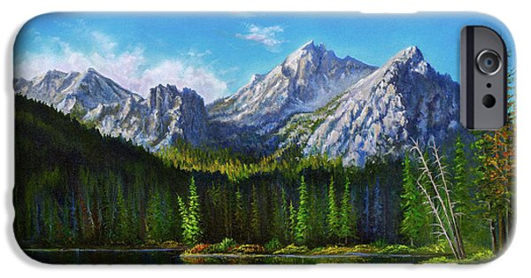 Bob Ross Paintings iPhone Cases - Stanley Lake Reflections iPhone Case by C Steele