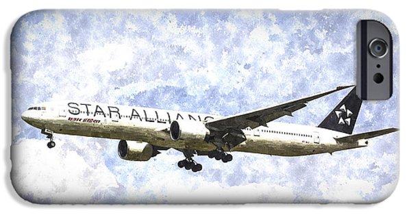 Jet Star iPhone Cases - Star Alliance Boeing 777 Art iPhone Case by David Pyatt