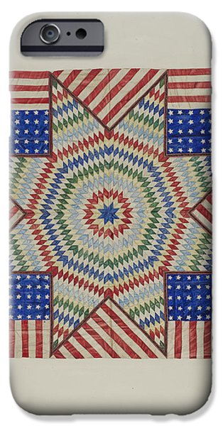 States Tapestries - Textiles iPhone Cases - Star And Flag Design Quilt iPhone Case by Fred Hassebrock