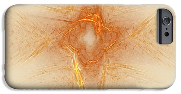 Abstract Digital iPhone Cases - Star In Abstract iPhone Case by Deborah Benoit