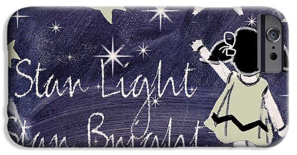 Mother Goose iPhone Cases - Star Light Star Bright Chalk Board Nursery Rhyme iPhone Case by Mindy Sommers