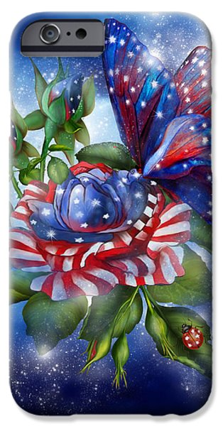 Independence Day Mixed Media iPhone Cases - Star Spangled Butterfly iPhone Case by Carol Cavalaris