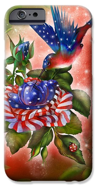 Independence Day Mixed Media iPhone Cases - Star Spangled Hummer iPhone Case by Carol Cavalaris