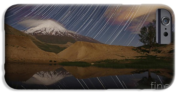 Stellar iPhone Cases - Star Trails Above Mount Damavand, Iran iPhone Case by Amin Jamshidi