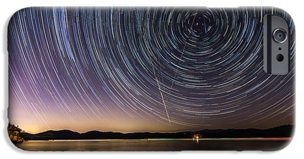 Time Pyrography iPhone Cases - Star Trails over Carters Lake iPhone Case by Andrew Savasuk