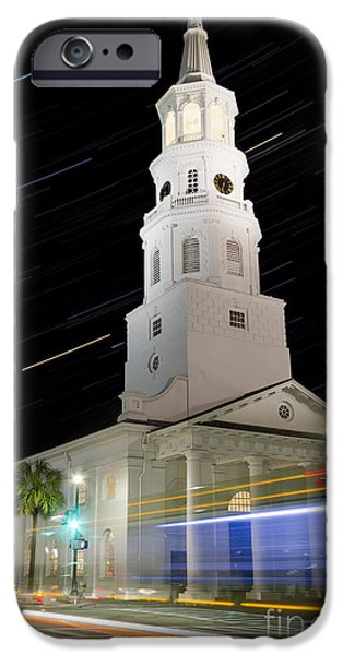 Michael iPhone Cases - Star Trails over St Michaels Church Charleston SC iPhone Case by Dustin K Ryan
