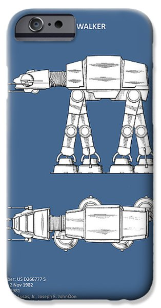 Walker iPhone Cases - Star Wars - AT-AT Patent iPhone Case by Mark Rogan