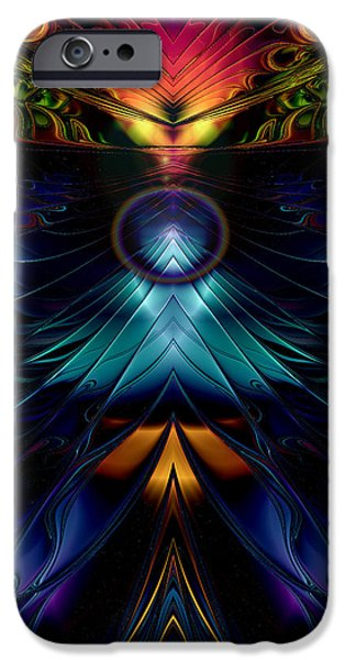 Fractal Other Worlds iPhone Cases - Stargate Symmetrical Abstract iPhone Case by Sharon and Renee Lozen