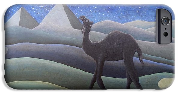 Stargazing Paintings iPhone Cases - Stargazer On the Dunes iPhone Case by Caroline Street