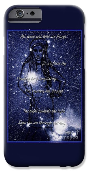 Stellar Mixed Media iPhone Cases - Starlight in Space and Time 5 iPhone Case by Joan-Violet Stretch