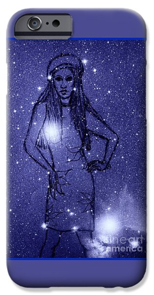 Stellar Mixed Media iPhone Cases - Starlight of Space and Time 2 iPhone Case by Joan-Violet Stretch