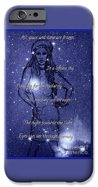 Stellar Mixed Media iPhone Cases - Starlight of Space and Time 4 iPhone Case by Joan-Violet Stretch