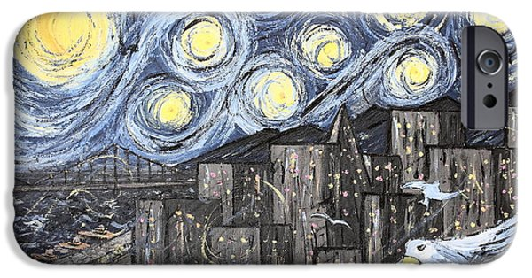 Abstract Expressionist iPhone Cases - Starry Nights in San Francisco 1985 iPhone Case by Wingsdomain Art and Photography