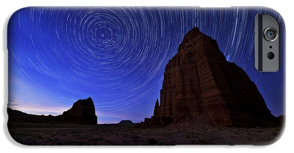 Night iPhone Cases - Stars Above the Moon iPhone Case by Chad Dutson